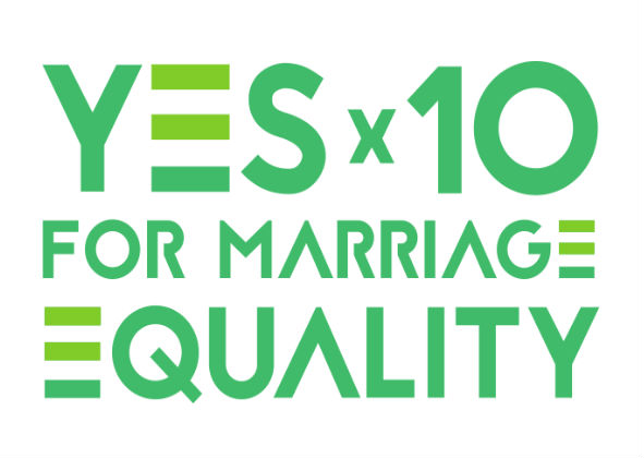 YESX10 for marriage equality logo